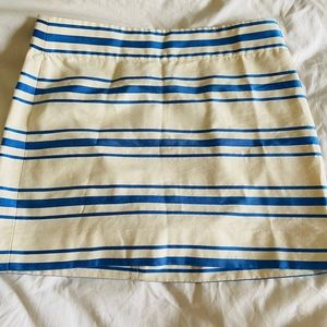 J Crew mini blue stripped skirt